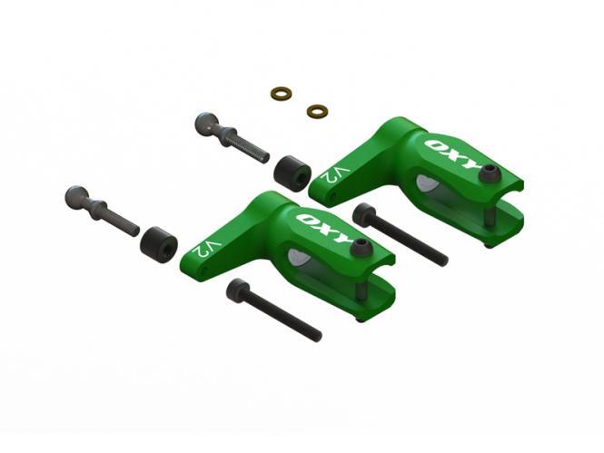 OXY Heli OXY3 GL Alu Blatthalter V2 grün # SP-OXY3-206