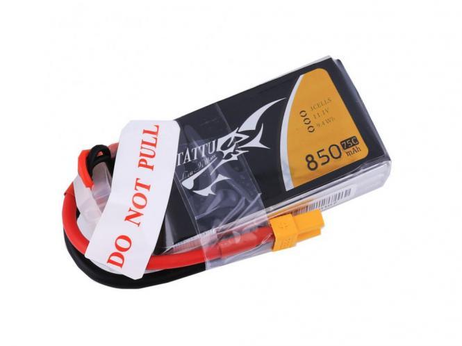 TATTU 850mAh 11.1V 75C 3S1P Lipo Akku Pack # TA-75C-850-3S1P