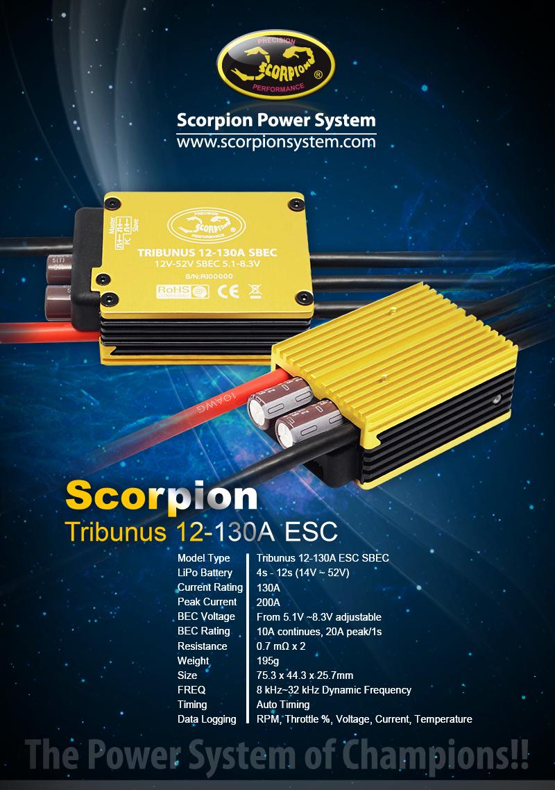 Scorpion TRIBUNUS 130A Brushless Regler 4 - 12 S # SCO-1474 | Live ...